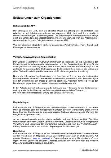 erluterungen zum organigramm ascom schweiz - Schriftgre Lebenslauf