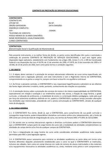 contrato de prestação de serviços educacionais contratante