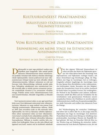 Kultuuriatašeest praktikandiks Vom Kulturattaché zum ... - Estland
