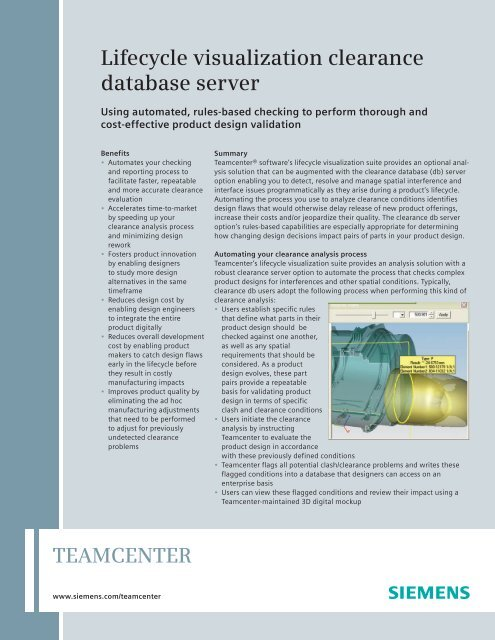 Lifecycle visualization clearance database server - Siemens