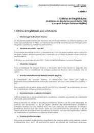 Critérios de elegibilidade de mobilidade para estudos ou estágios
