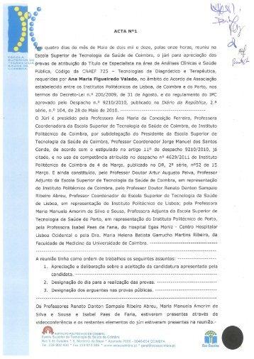 Ana Valado - Escola Superior de Tecnologia da Saúde de Coimbra