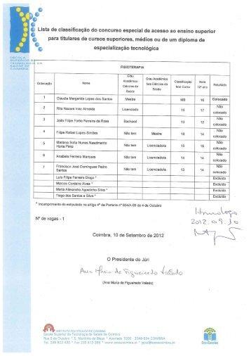 Listas de candidatos colocados - Escola Superior de Tecnologia da ...