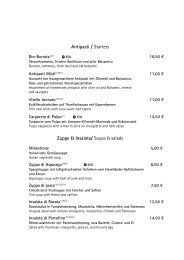Antipasti / Starters Zuppe & Insalata/ Soups & salads
