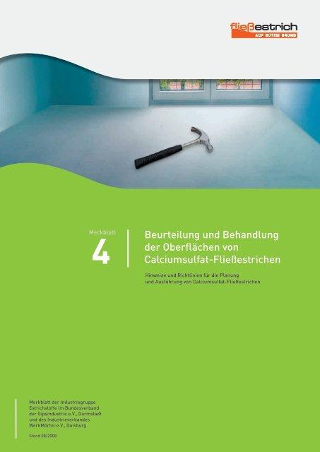 Beurteilung und Behandlung der Oberflächen von Calciumsulfat ...