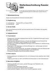 Stellenbeschreibung Kassier ESV - Emmentalischer Schützenverband