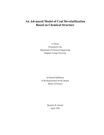 An Advanced Model of Coal Devolatilization Based on - Ira A. Fulton ...