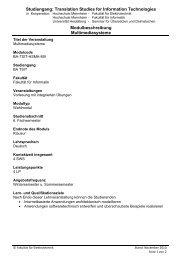 Studiengang: Translation Studies for Information Technologies ...