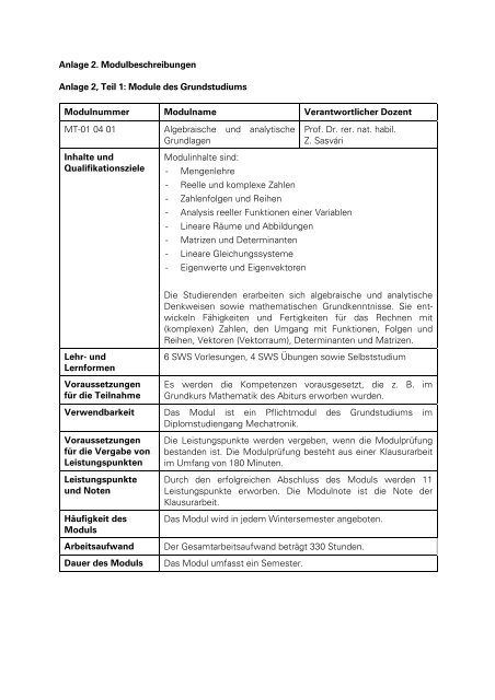 Anlage 2, Teile 1 und 2: Modulbeschreibungen Pflichtmodule