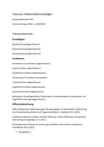 Tutorium: Mathematik Grundlagen Themenübersicht: