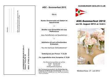 Ausschreibung Sommerfest 2012 - ASC