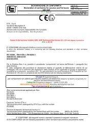 DICHIARAZIONE DI CONFORMITA' Declaration of conformiy for ...