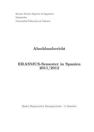Abschlussbericht ERASMUS-Semester in Spanien 2011/2012