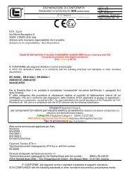 DICHIARAZIONE DI CONFORMITA' Declaration of conformiy ... - ETA