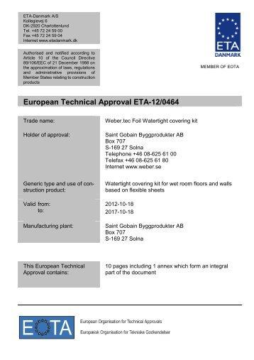 ETA120464 webertec Foil - ETA-Danmark