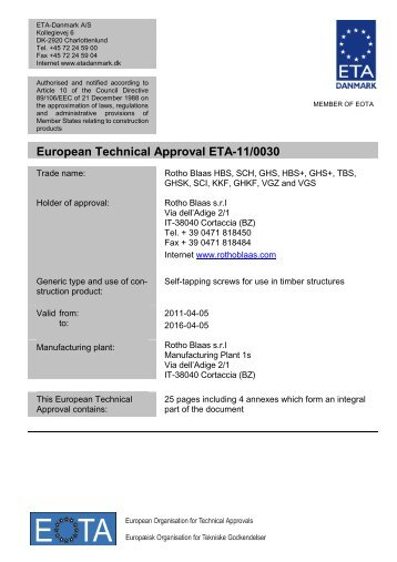 ETA110030 RB screws - ETA-Danmark