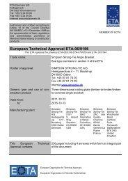 European Technical Approval ETA-06/0106 - ETA-Danmark