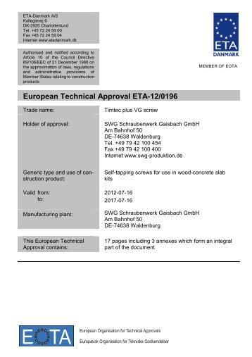 ETA120196 SWG screws concrete - ETA-Danmark