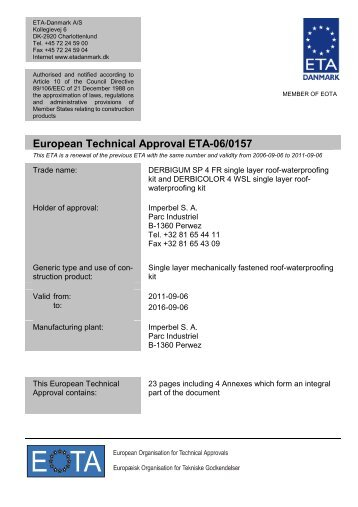 European Technical Approval ETA-06/0157 - ETA-Danmark