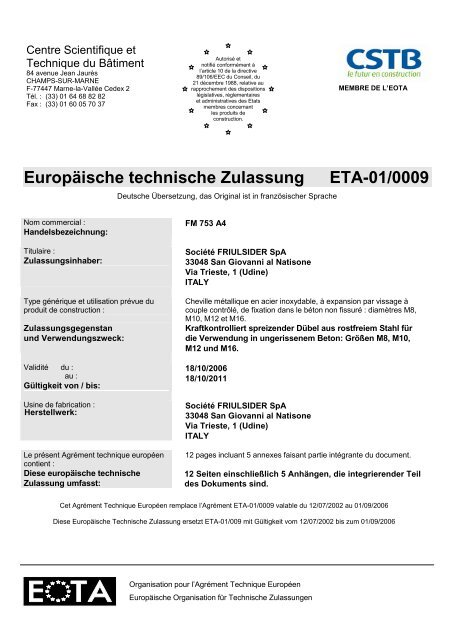 Europäische Technische Zulassung Bolzenanker FM-753 ... - Etanco