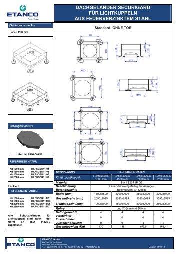 Absturzsicherung Lichtkuppeln - Etanco