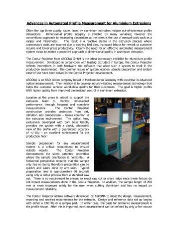 Advances in Automated Profile Measurement for ... - ASCONA