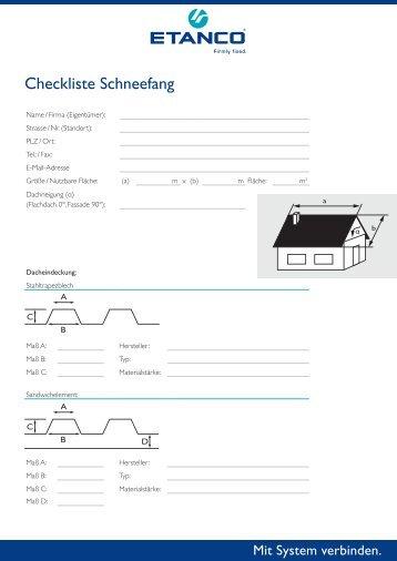 Checkliste Schneefang Metalldach - Etasol-solar-zubehoer.de