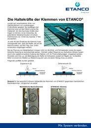 Charakterische Werte von Stehfalzklemmen - Etasol-solar-zubehoer ...