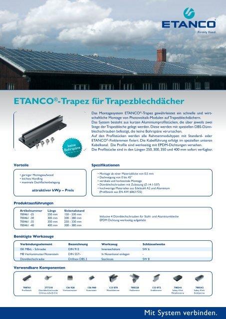 ETANCO®-Trapez für Trapezblechdächer - Etasol-solar-zubehoer.de