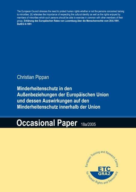 Minderheitenschutz in den Außenbeziehungen der ... - ETC Graz