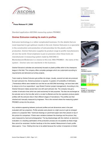Greiner Extrusion making its mark in profiles - ASCONA
