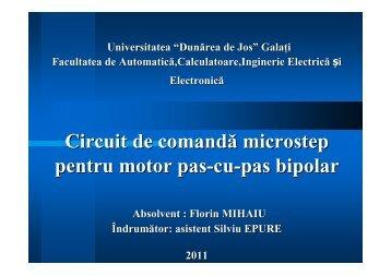 Circuit de comandă microstep pentru motor pas-cu-pas bipolar