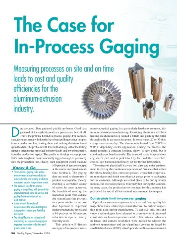 The Case for In-Process Gaging - ASCONA