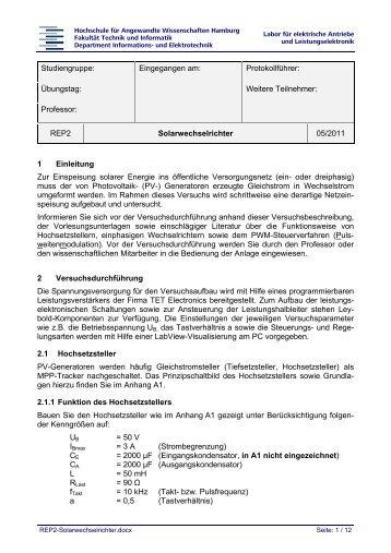 REP2 Solarwechselrichter 05/2011 1 E - etech – HAW Hamburg