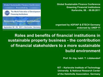 Roles and Benefits of Financial Institutions in Sustainable Property ...