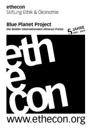 Das Internationale ethecon Blue Planet Project