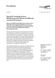 EtherCAT Technology Group at SPS IPC Drives 2012: Renesas and ...