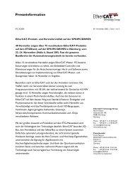 EtherCAT-Produkt- und Herstellervielfalt auf der SPS/IPC/DRIVES