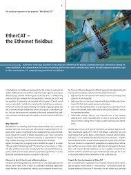 EtherCAT - the Ethernet fieldbus