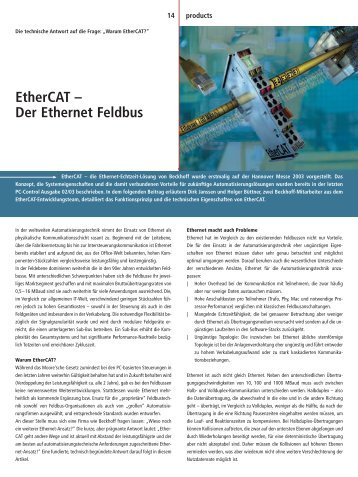 Der Ethernet Feldbus - EtherCAT
