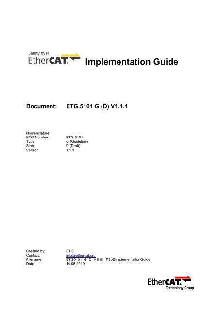 ETG.5101 FSoE Implementation Guide - EtherCAT