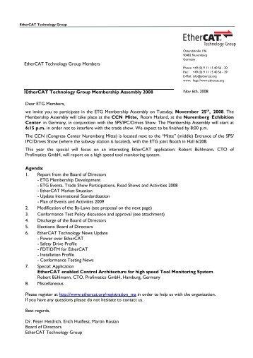 ETG Membership Assembly 25.11.08 - EtherCAT