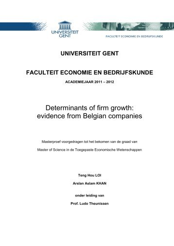 Determinants of firm growth: evidence from Belgian ... - E-thesis