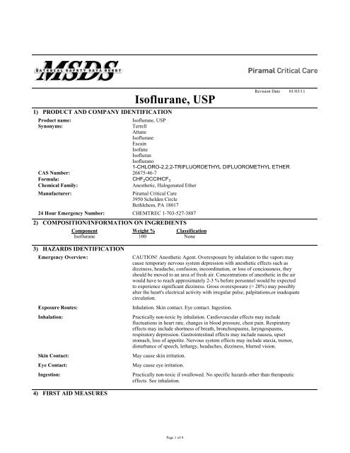 ISO Isoflurane MSDS