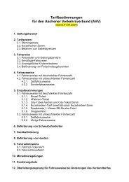 Tarifbestimmungen für den Aachener Verkehrsverbund (AVV)