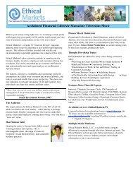 Acclaimed Financial Lifestyle Magazine Television ... - Ethical Markets