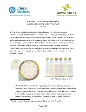ETHICAL BIOMIMICRY FINANCE PRINCIPLES - Ethical Markets
