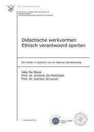 VUB rapport - Internationaal Centrum voor Ethiek in de Sport
