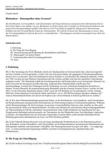 Biobanken ? Datenquellen ohne Grenzen? - ethik im diskurs