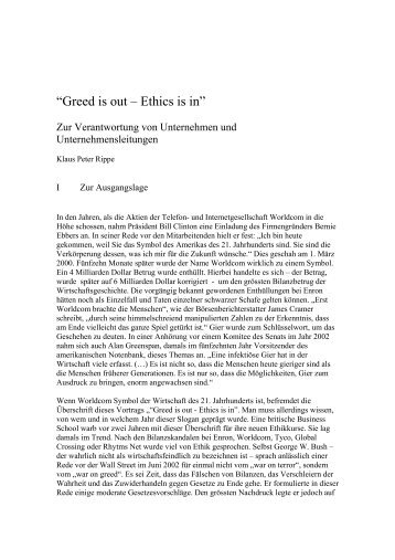 ?Greed is out ? Ethics is in? - ethik im diskurs